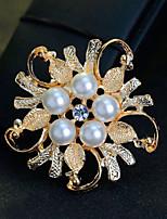 Dámské Dívky Brože Květiny Perly Křišťál Slitina Šperky Pro Svatební Párty Zvláštní příležitosti Denní