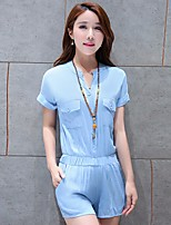 Women's Casual/Daily Simple Shirt Pant Suits,Solid V Neck Micro-elastic