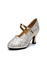 Non Customizable Women's Latin Sparkling Glitter Heels Indoor Buckle Sparkling Glitter Cuban Heel Gold 2