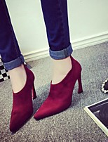 Women's Heels Club Shoes Pigskin Dress Casual Stiletto Heel Burgundy Khaki Blue Gray Black