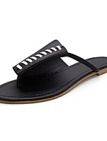 Chinelos femininos&Flip-flops verão mary jane leatherette outdoor vestido casual bege preto andando