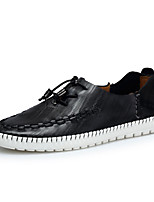 Men's Sneakers Spring Fall Comfort Nappa Leather Outdoor Flat Heel Khaki Red Brown Black Walking