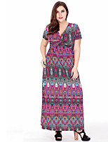 Women's Plus Size Casual/Daily Party Loose Sheath Dress,Print Deep V Maxi Short Sleeve Polyester Summer High Rise Micro-elastic Thin