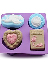 1Pcs  22Cm*18.5Cm*3Cm The Cake Baked Mold Handmade Soap Mold The Rose Love Angel Mold