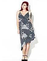 Mousseline de Soie Robe Femme Grandes Tailles Vintage,Imprimé A Bretelles Mi-long Sans Manches Coton Polyester Eté Automne Taille Haute