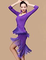 Shall We Latin Dance Dresses Women Performance Polyester Milk Fiber Tassel(s) Splicing 2 Pieces Dance Costume