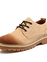 Men's Oxfords Spring Fall Gladiator PU Outdoor Casual Flat Heel Lace-up Brown Gray Black