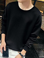Men's Casual/Daily Sweatshirt Solid Round Neck Micro-elastic Cotton Long Sleeve
