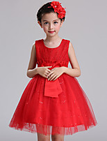 Ball Gown Short / Mini Flower Girl Dress - Cotton Lace Satin Tulle Jewel with Bow(s) Lace Sash / Ribbon Sequins