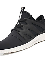 Men's Athletic Shoes Comfort PU Spring Fall Outdoor Comfort Flat Heel Black Black/White Flat