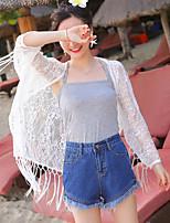 אחיד צווארון פיטר פן סקסי פשוטה חמוד ליציאה יום יומי\קז'ואל חוף ג'קט נשים,קיץ רגיל Others