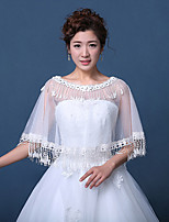 Women's Wedding Wrap Capelets Sleeveless Lace Tulle Wedding Party/Evening Embroidery Lace Rhinestone Grace Bride Shawl White