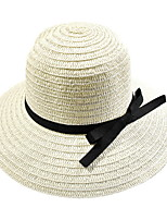 Bow Summer Straw Hat Cap Wide Brim Hawaii Folding Soft Sun Hat Casual Foldable Brimmed Beach Hats For Women