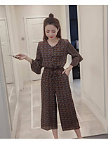 Women's Casual/Daily Beach Holiday Vintage Chinoiserie Sophisticated Blouse Pant Suits,Print V Neck