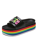 Women's Slippers & Flip-Flops Summer Creepers Leatherette Outdoor Dress Casual Creepers Applique Black White Walking