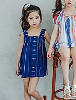 Girl's Stripe Lattice Dress,Cotton Summer Sleeveless