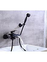 Contemporâneo Banheira e Chuveiro Cascata with  Válvula Cerâmica Monocomando Dois Buracos for  Bronze Oleado , Torneira de Banheira