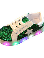 Girls' Athletic Shoes Comfort PU Spring Summer Athletic Casual Comfort Lace-up LED Flat Heel Gold Green Blushing Pink Flat