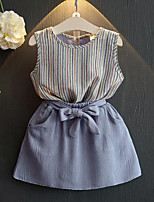 Girls' Going out Casual/Daily Striped Sets,Rayon Polyester Summer Sleeveless Clothing Set