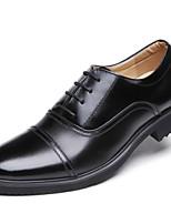 Черный-Для мужчин-Для прогулок Для офиса Повседневный Для вечеринки / ужина-КожаУдобная обувь-Туфли на шнуровке