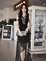 Для женщин На выход На каждый день Офис Простое Уличный стиль Изысканный Обычный Пуловер Однотонный Контрастных цветов,Воротник-стойкаБез