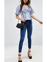 Tee-shirt Femme,Rayé Broderie Sortie Décontracté / Quotidien Sexy simple Chic de Rue Eté ½ Manches Col en V Soie Coton Moyen