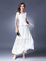 SUOQI Spring Summer Women's Two Pieces Dresses Going out Party Lace Dress Solid Round Neck Short Sleeve Dress