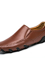 Men's Oxfords Spring Fall Moccasin Pigskin Outdoor Flat Heel Brown Black White Walking
