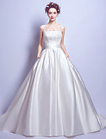 Ball Gown Wedding Dress Vintage Inspired Court Train Jewel Satin with Lace Pocket