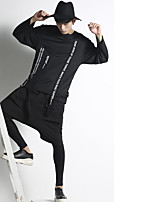 Men's Casual/Daily Activewear Set Solid Round Neck strenchy Acrylic ¾ Sleeve Spring