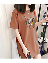 Women's Going out Casual/Daily Holiday Simple Summer T-shirt,Solid Animal Print Round Neck Short Sleeve Cotton Rayon Thin