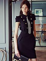 Для женщин На выход Офис Вечеринка/коктейль Уличный стиль Изысканный Облегающий силуэт Оболочка Маленькое черное Платье Однотонный,