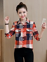 Women's Casual/Daily Simple Street chic Spring Summer Shirt,Houndstooth Asymmetrical ¾ Sleeve Cotton Medium