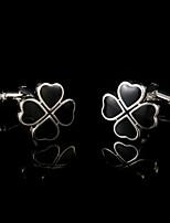 Bouton de manchette Pince Cravate Pince à cravate Cuivre Mode Boîtes et sacs cadeaux Boutons de manchettes Noir Argent 1 paire