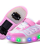 Kid Boy Girl Wheely's Roller Skate Shoes Light Up Shoes Luminous Shoe Outdoor Athletic Casual Low Heel LED Lace-upBlushing Pink