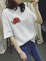Women's Casual/Daily Simple Spring Summer T-shirt,Print Round Neck Short Sleeve Cotton Thin