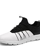 Homme Chaussures d'Athlétisme Confort Tricot Cuir Automne Hiver Athlétique Décontracté Randonnée Elastique Talon PlatBlanc Noir