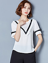 Women's Going out Work Simple Sophisticated All Seasons Blouse,Color Block Round Neck Short Sleeve Rayon