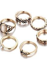 Conjunto de Jóias Anel Básico Gema Formato Circular Dourado Anéis Para Diário Casual 1 Conjunto Presentes de casamento