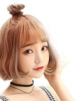 Модные дамы короткие куклы светло-коричневые прямые челки естественные волны высокотемпературные парики для волос