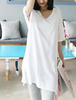 Feminino Camiseta Casual SimplesSólido Algodão Decote V Meia Manga Fina