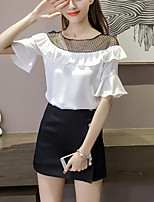 W Women's Going out Casual/Daily Street chic Summer Loose Blouse Patchwork Mesh Ruffle Boat Neck Short Sleeve Flare Sleeve Polyester Thin