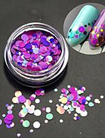 1bottle moda romântica decoração prego arte rodada fatia glitter paillette fatia coloridos laser design p14
