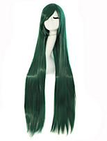 Popular Green Color Long Straight Synthetic Wigs For Afro Women