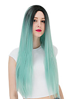 Black To Green Color Straight Synthetic Hair Wigs Glueless Synthetic Wigs For Afro Women