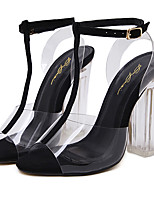Women's Boots Summer Transparent Shoe Rubber Dress Chunky Heel Crystal Heel Silver Black Gold