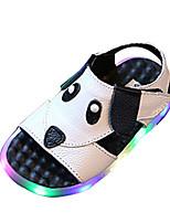 Boys' Sandals Spring Summer Comfort PU Casual Flat Heel LED Hook & Loop Black White