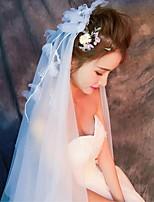 Свадебные вуали Два слоя Короткая фата Фата до локтя Фата до кончиков пальцев Обрезанная кромка Тюль Кружево