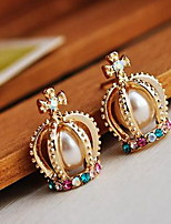 The French Palace Noble Pearl Crown Cross Diamond Stud Earrings  Pearl  Crystal