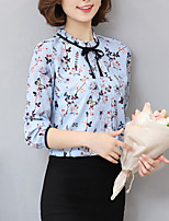 Women's Going out Casual/Daily Simple Boho Summer Fall Shirt,Print Round Neck Long Sleeve Silk Opaque